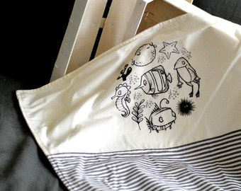 Limited edition handprinted baby blanket with my own graphics Babyblanket Printed Printing Sea animals Black white Scandinavian style