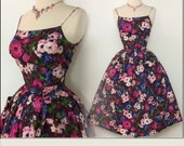 Vintage 1950s Dress//50 Dress//Floral//Rockabilly//Full Circle Dress//New Look//Mod//Garden Party//50s Party Dress