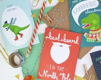 Christmas Card Bundle, Mixed Set of 6 Christmas Cards, Dinosaur Christmas Cards, Festive Beard Cards, Multi Pack Cards
