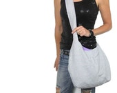 gray linen hobo bag cross body or shoulder purse. Design your own mom bag medium or large purse with solid interior color choice and AddOns