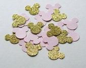 Gold and Pink Minnie Confetti, Minnie Mouse Inspired Decorations, Glitter Gold Minnie Confetti, Minnie Birthday Party , (MINN-GP)