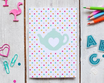 Teapot Notebook   Colourful Note Book   Lined Notebook   Notepad   A6 Notebook   Pocket Note Book   Recyled