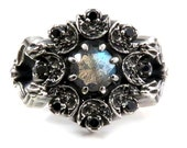 Snake and Moon Labradorite Gothic Engagement Ring with Black and White Diamonds - Memento Mori