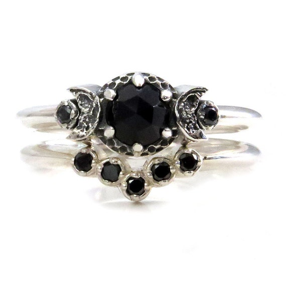 Bohemian Moon Ring Wedding Set with Black Diamonds and Rose Cut Black Spinel in Sterling Silver