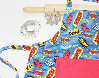 Superhero Child Apron with red pocket