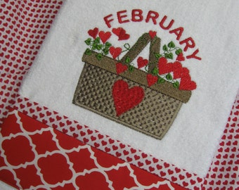 """Handmade embroidered  """"Country Valentine's Day Basket"""" hand towel"""