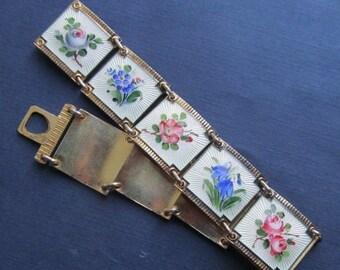 Summer Sale Norway Sterling Silver Enamel Floral Flower Bracelet By Nils Elvik Norway Vintage Norwegian Guilloche Jewelry