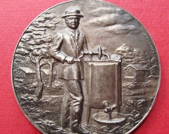 On Sale The Wine Maker Antique French Silver Art Medal Signed A Desaide