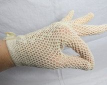 Vintage Mid Century Fishnet White Ladies Gloves with Buckles