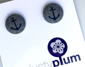 Anchor Navy Ear Studs - Rockabilly Navy Blue Chambray Cotton Covered Buttons