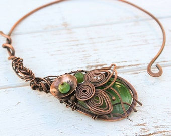 Wire Wrapped Necklace Green Agate Necklace Copper Jewelry Torque Necklace Choker Wire Wrapped Jewelry Collar Adjustable Copper Necklace