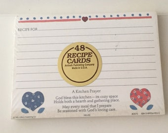 Vintage 1988 48 recipe cards Kitchen Prayer Country