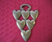 Vintage English Horse Brass Hearts Metal Equestrian Decoration Bridle 1950s England
