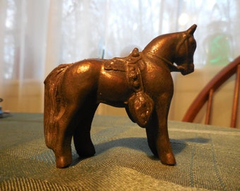 Vintage Cast Metal Horse Equestrian With Saddle Bronze Looking/Copper Heavy 1950s to 1960s Figurine Small Little Pony Decor