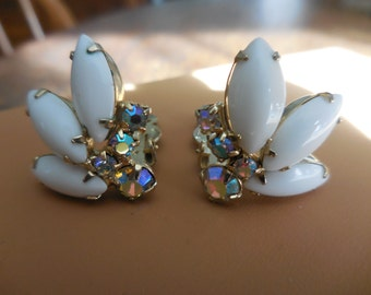 Vintage 1950s to 1960s Gold Tone Pronged White Glass Iridescent Rhinestones Clip on Earrings Non Pierced Wedding Bridal