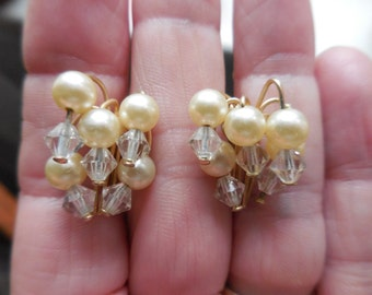 Vintage 1950s to 1960s Gold Tone White Pearls and Clear Crystals Beaded Clip on Earrings Non Pierced Small Bridal/Wedding