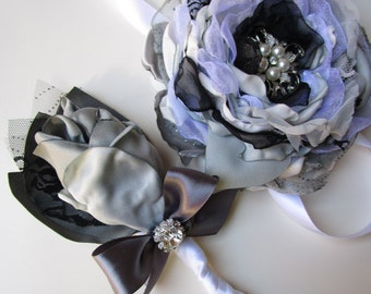 Corsage and boutonniere set- White silver black-  Prom, Homecoming, Bridesmaids, Groomsmen matching boutonniere