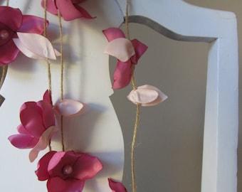 Wedding garland, Flower garland, Pink flower backdrop decoration, Party garland, small fabric flower decoration garland