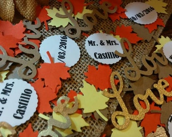Personalize Autumn Wedding Confetti 300 CT- Fall Wedding-Engagement Party- Table Confetti-Anniversary-Bridal Shower- Custom colors