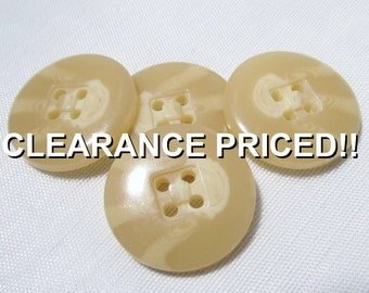 """CLEARANCE! Shades of Beige: 7/8"""" (22mm) Variegated Buff Colored Buttons - Set of 4 New / Unused Buttons"""