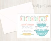 Vintage Pyrex Inspired Kitchen - Bridal Shower Invitation with 4x6 Recipe Card, Custom Wedding Digital Invite, Customized Printable Design