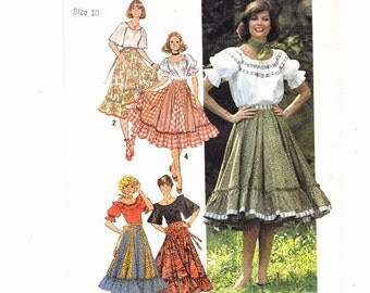 Simplicity 7842 Square dancing Skirt With Ruffle Peasant Blouse Size 10 Uncut Patterns FF