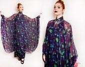 Vintage 1970s Dress - Butterfly Chiffon Rhinestone Caftan Goddess Gown 70s - OSMF