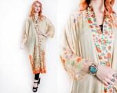Vintage 1920s Kimono Robe - Floral Duster Pongee Silk Tissue Jacket 20s