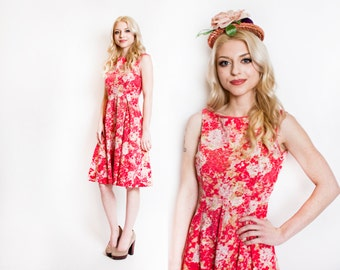 Vintage 1950s Dress - Floral Pink Cotton Full Skirt Sleeveless 50s - Medium