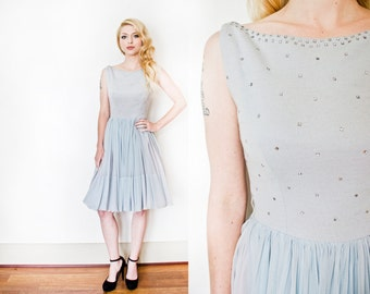 Vintage 1950s Dress - Ice Blue Chiffon Rhinestone & Wool Full Skirt Party Dress 50s - Small