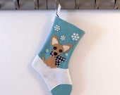 Chihuahua Dog Personalized Christmas Stocking by Allenbrite Studio