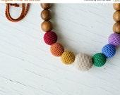 FLASH SALE Earthy Simple Rainbow Nursing Necklace - oak wood