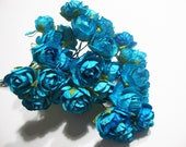 Small Scalloped Pedal Turquoise Blue Mulberry Paper Roses Flowers -3 Bunches