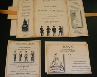 Vintage Wedding Invitation, NORTH & SOUTH, Civil War, Christian, Romantic, Victorian, Tri-fold, Color Option, Jane Austin, Downton Abbey