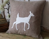 Whitetail DEER Pillow Cover - Deer Silhouette Pillow, Recycled Wool Pillow, Woodland Animal Pillow, 16 Inch - FREE SHIPPING