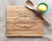 Mr. And Mrs. Personalized Wedding Cutting Board, Engraved With Name And Established Year, Housewarming or Wedding Gift, Bamboo Cutting Board