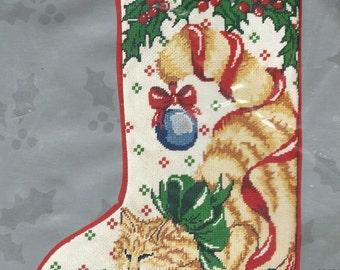 90s Christmas Needlepoint Stocking Kit Contented Cat Candamar Designs Kit 30634 Unopened Christmas Stocking Kit