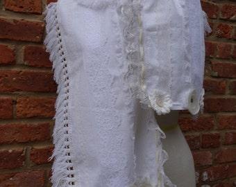 Wedding Scarf,Victorian Scarf,Mori Girl Scarf,Boho Scarf,Cotton Scarf,by Nine Muses Of Crete