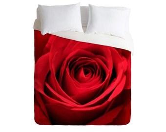 Duvet Cover. Bedding.  Bedroom Decor. Rose Home Decor. Floral Bedding. Red Rose. Red Bedroom Decor. Glam. Dorm Decor. Girly Bedding