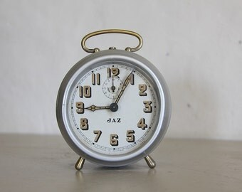 Antique French Jaz  Alarm Clock Large Metal Loft Decor 1920s.  The Clock Depicted on Jaz Signs