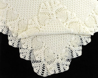 Knitted Baby Blanket, Lacy Crochet Baby Blanket, Milk White, White Christening Blanket, Baby Shower Gift, New Mom Gift, Merino Wool Blanket