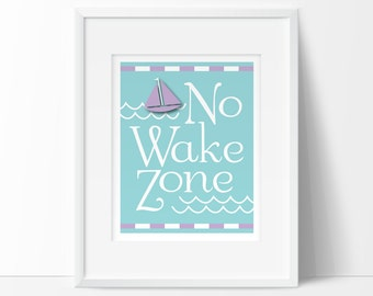 lavender nursery, nautical girl nursery,no wake zone, nautical nursery, Baby girl nautical, printable nursery wall art, INSTANT DOWNLOAD