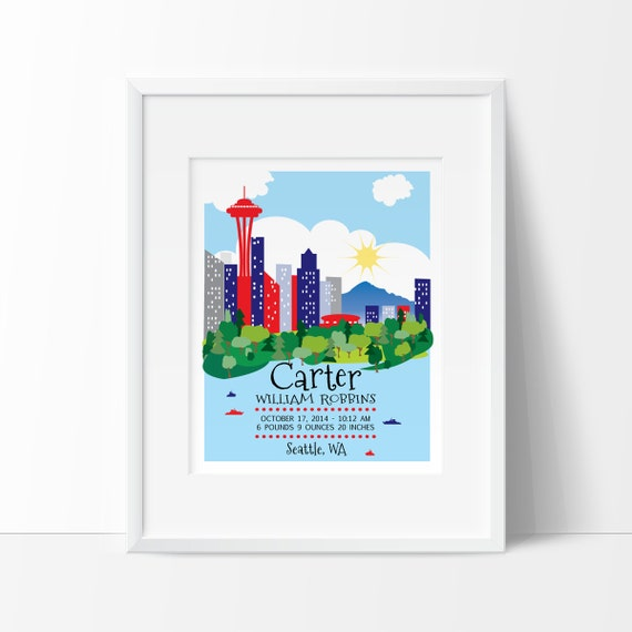 Seattle baby seattle skyline seattle art birth announcement like this item negle Image collections