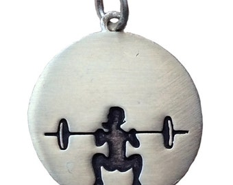 Sterling Silver Front Squat Weightlifting Necklace