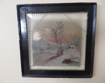 Vintage Painting on glass window / FOLK ART Primitive / Edwardian Victorian / 14 3/4 square / Americana
