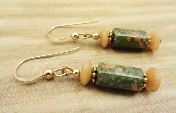 Unakite Earrings, Aventurine and Unakite Earrings, Orange and Green, Fall Colors, Rustic Jewelry, Stone Earrings, Rustic boho earrings