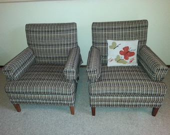 Vintage Mid Century Chairs Houndstooth Check Upholstered Chairs Set of Two