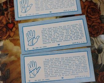2 Vintage Palmistry Penny Arcade Cards