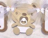 Teddy bear baby shower banner, gender neutral, brown and tan, oh baby