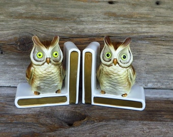 Lefton Owl Bookends 1960s Kitsch Home Decor Book Storage Retro Woodland Decor Vintage Office Organization